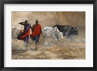 Framed Dusty Cattle Drive