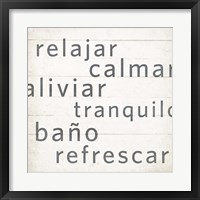 Spa Retreat I Espanol Framed Print