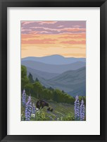 Black Bear with Cubs 1 Framed Print