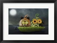 Framed Owl and Cat