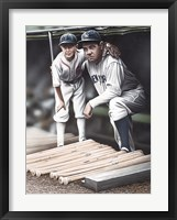 Framed Babe Ruth and the Bat Boy