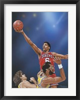 Framed Dr. J Going to the Rim