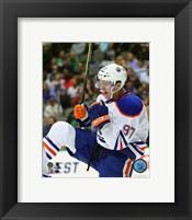 Framed Connor McDavid celebrates his first NHL Goal- October 13, 2015