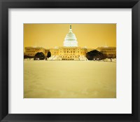 Framed US Capitol Building during Snow Storm, Washington DC