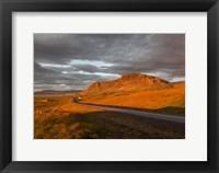 Framed Sunset over Road, Borgarfjordur, Iceland