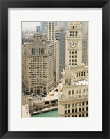 Framed Clock tower along a river, Wrigley Building, Chicago River, Chicago, Illinois, USA