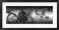 Framed Montage of Old Pocket Watches