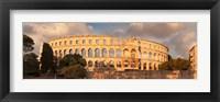 Framed Roman amphitheater at sunset, Pula, Istria, Croatia