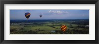 Framed Hot air balloons floating in the sky, Illinois River, Tahlequah, Oklahoma, USA