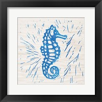 Sea Creature Seahorse Blue Framed Print