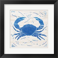Sea Creature Crab Blue Framed Print