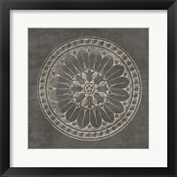 Framed Rosette I Gray