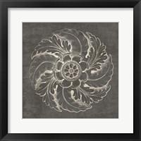 Framed Rosette IV Gray