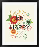 Groovy Florals II Be Happy Framed Print