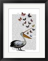 Framed Pelican & Butterflies