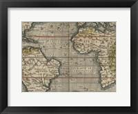 Antique World Map Grid V Framed Print