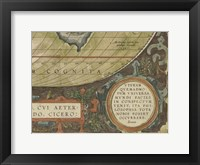 Antique World Map Grid IX Framed Print