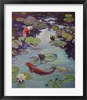 Framed Red Koi & Lilies