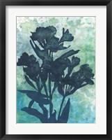 Indigo Floral Silhouette I Framed Print