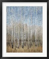 Dusty Blue Birches II Framed Print