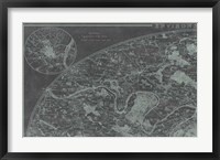 Map of Paris Grid I Framed Print