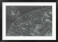Map of Paris Grid I Framed Print