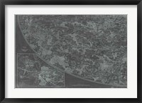 Map of Paris Grid III Framed Print