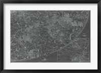 Map of Paris Grid IV Framed Print
