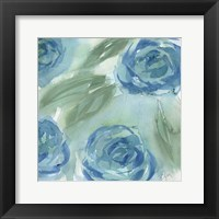 Framed Blue Green Roses II