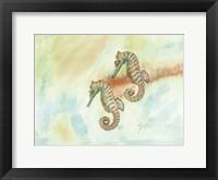 Crystal Tone Seahorse Framed Print