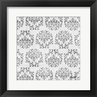 Charcoal Damask 1 Framed Print