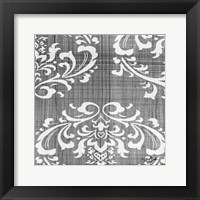 Charcoal Damask 2 Framed Print