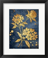 Floral Golden Blues Framed Print