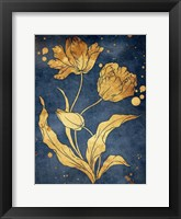 Floral Golden Blues Mate Framed Print