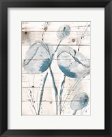 White Wood Blue Florals Framed Print