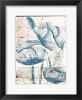 White Wood Blue Florals Mate Framed Print