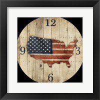 Wooden US Map Clock Framed Print