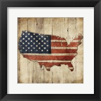 Wooden US Map Framed Print