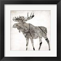 Wood Moose Mate Framed Print