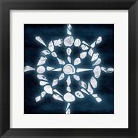 Shell Wheel Deep Blue Framed Print