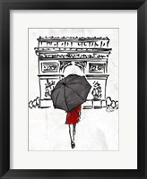 Inked Walk Away Red Framed Print