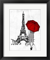 Inked Walk Away Mate Red Umbrella. Framed Print