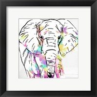 Framed Elephant Head Colorful