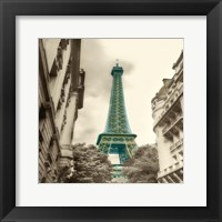 Teal Eiffel Tower 2 Framed Print