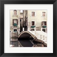 Framed Teal Venice II