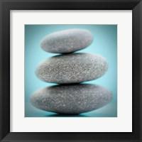 Stacking Stones 1 Teal Framed Print