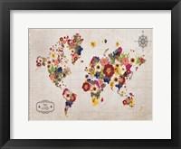 Floral Map Framed Print