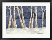 Framed Birch, Snowy Night