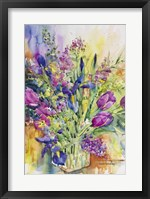 Framed Iris Blue And Tulips Too