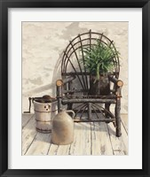 Framed Wicker Chair With Ice Cream Churn